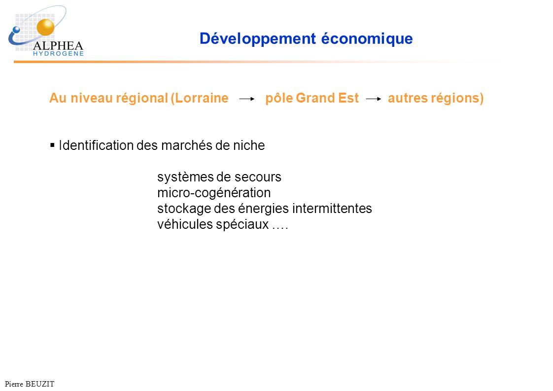 Développement économique Au niveau régional (Lorrainepôle Grand Est autres régions) Identification des marchés de niche systèmes de secours micro-cogé