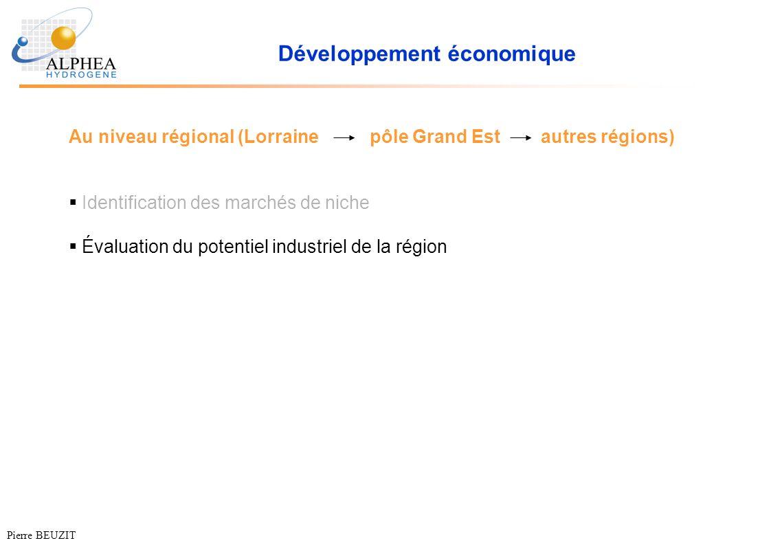 Développement économique Au niveau régional (Lorrainepôle Grand Est autres régions) Identification des marchés de niche Évaluation du potentiel indust