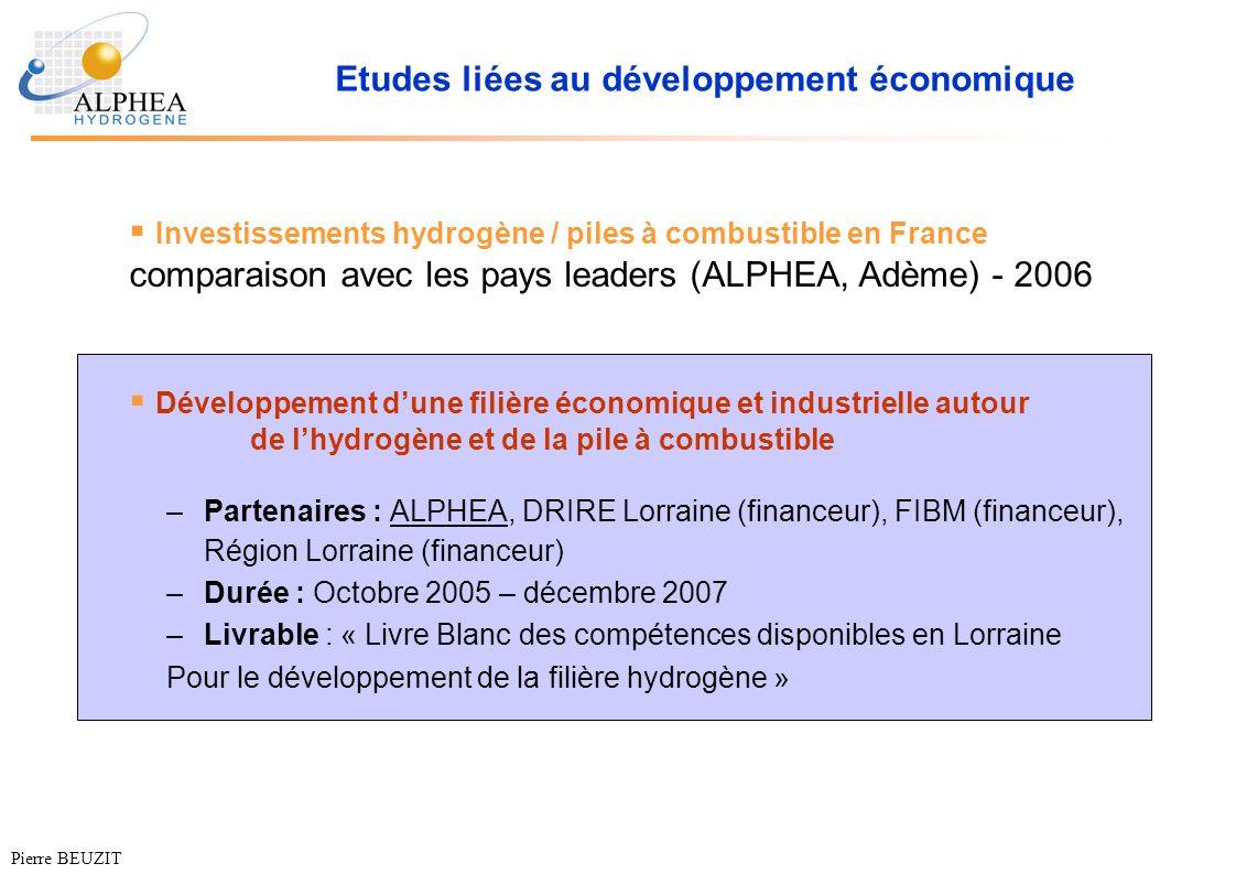 Etudes liées au développement économique –Partenaires : ALPHEA, DRIRE Lorraine (financeur), FIBM (financeur), Région Lorraine (financeur) –Durée : Oct