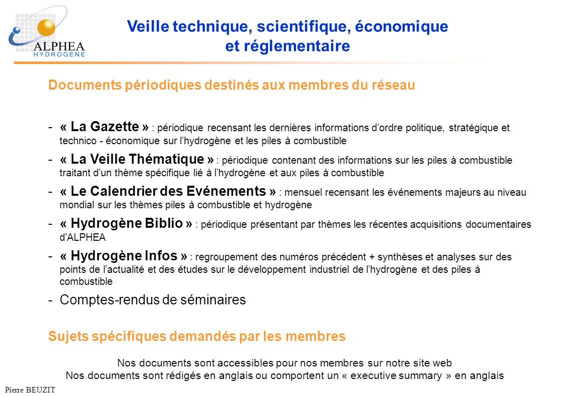 Veille technique, scientifique, économique et réglementaire Documents périodiques destinés aux membres du réseau -« La Gazette » : périodique recensan