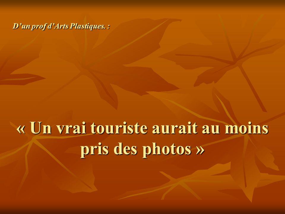 « Un vrai touriste aurait au moins pris des photos » Dun prof dArts Plastiques. :