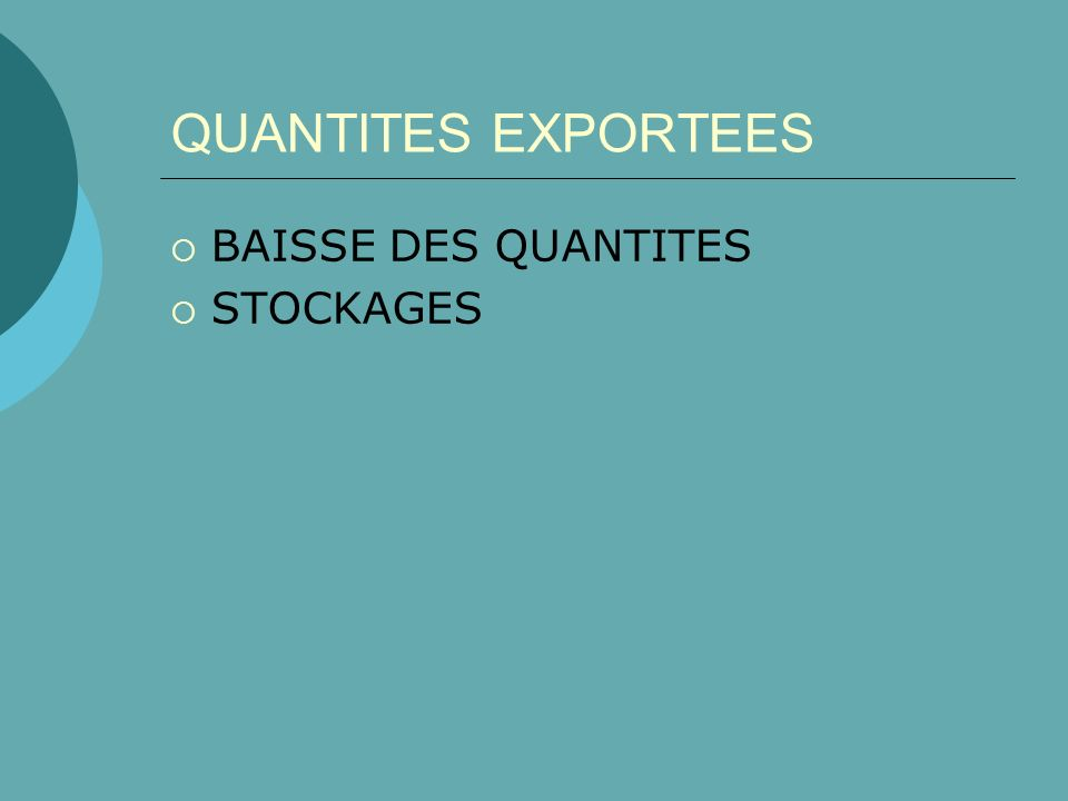 QUANTITES EXPORTEES BAISSE DES QUANTITES STOCKAGES