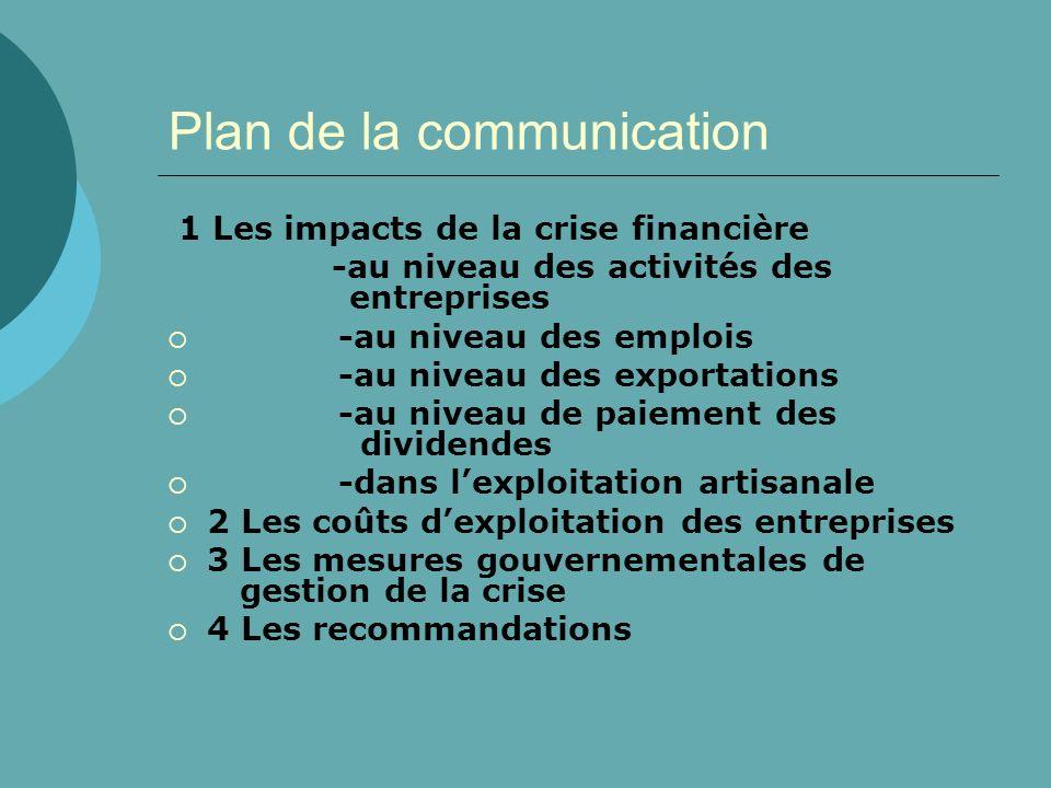 Plan de la communication 1 Les impacts de la crise financière -au niveau des activités des entreprises -au niveau des emplois -au niveau des exportati