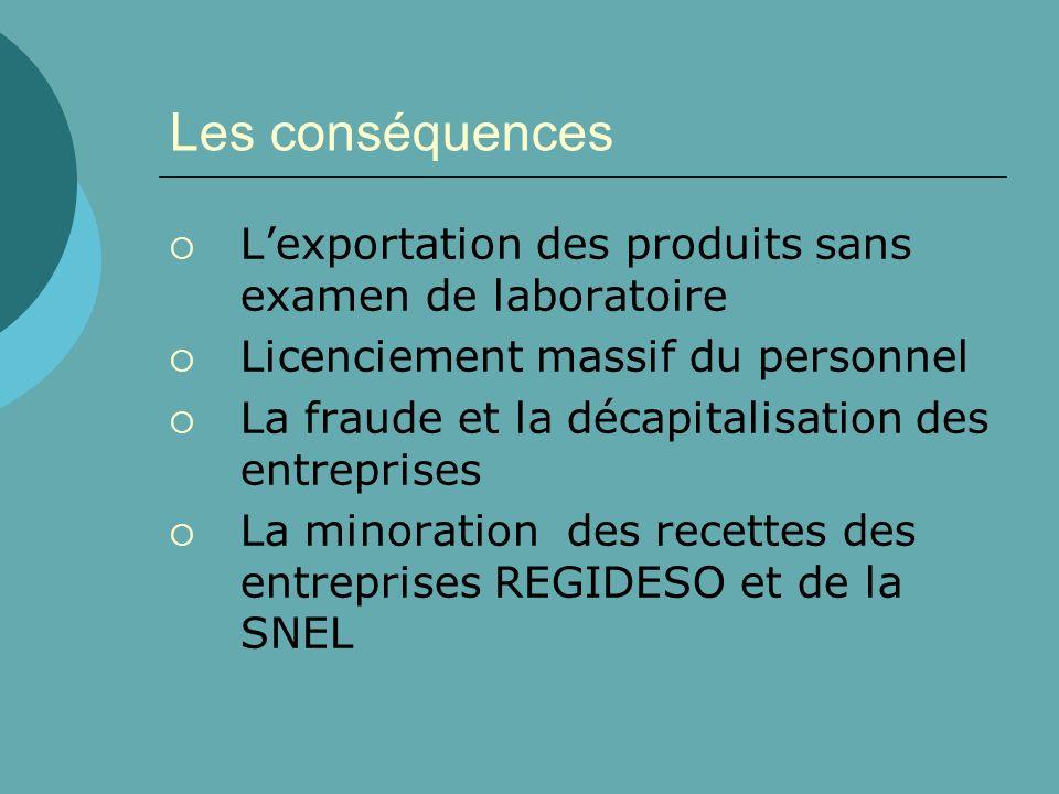 Les conséquences Lexportation des produits sans examen de laboratoire Licenciement massif du personnel La fraude et la décapitalisation des entreprise
