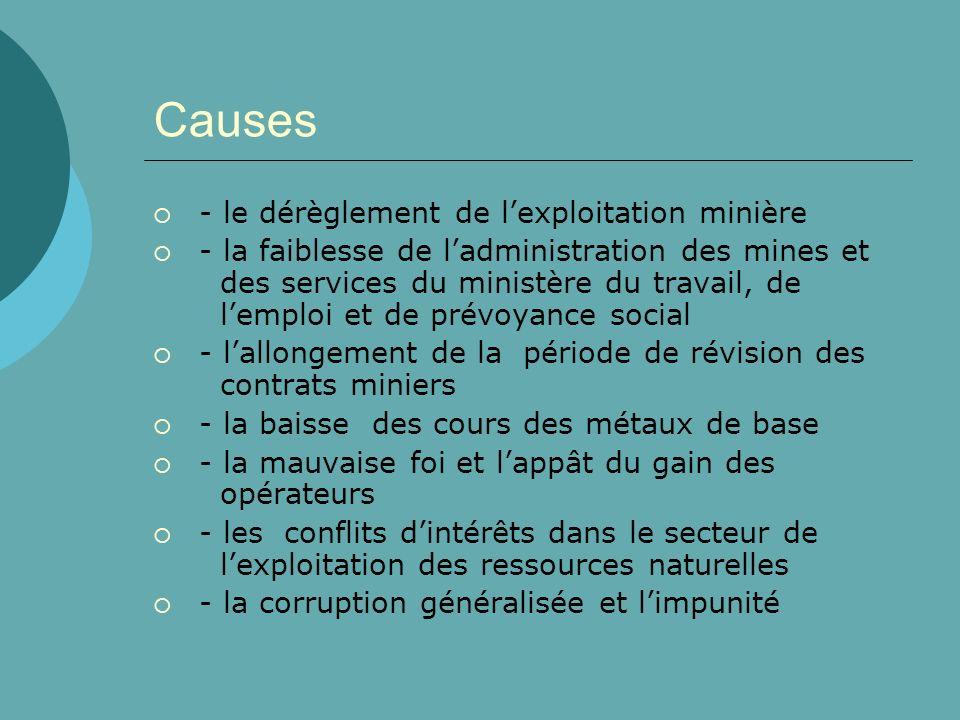 Causes - le dérèglement de lexploitation minière - la faiblesse de ladministration des mines et des services du ministère du travail, de lemploi et de