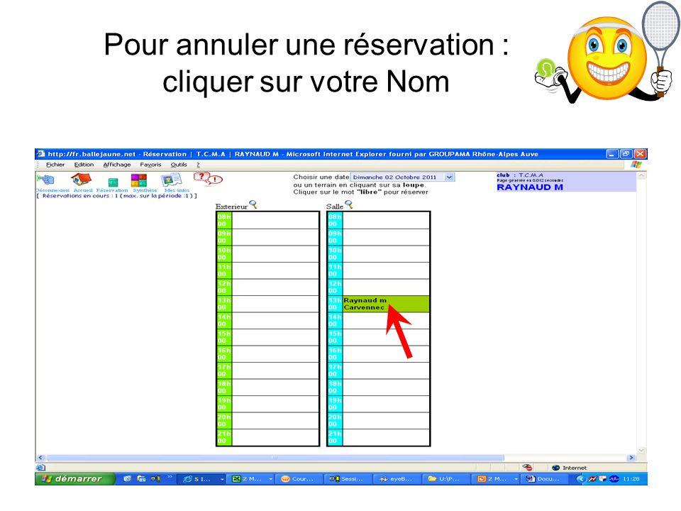 Pour annuler une réservation : cliquer sur votre Nom