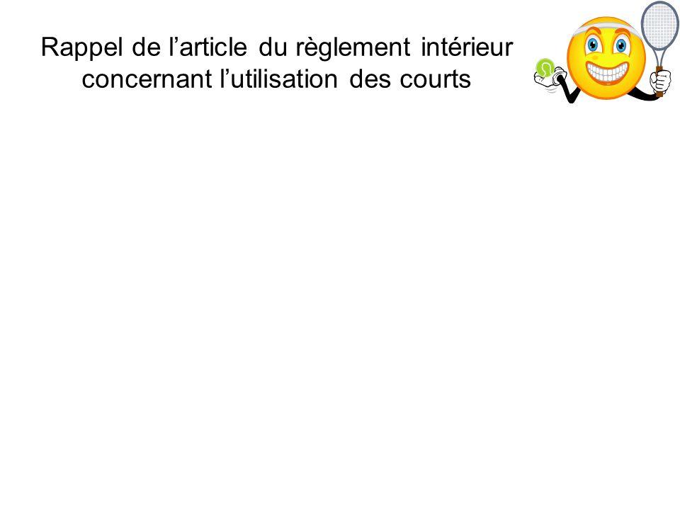 Rappel de larticle du règlement intérieur concernant lutilisation des courts