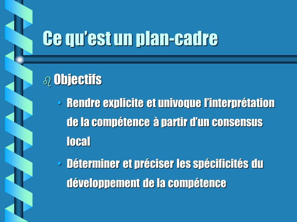 Ce quest un plan-cadre b Objectifs Rendre explicite et univoque linterprétation de la compétence à partir dun consensus localRendre explicite et univoque linterprétation de la compétence à partir dun consensus local Déterminer et préciser les spécificités du développement de la compétenceDéterminer et préciser les spécificités du développement de la compétence