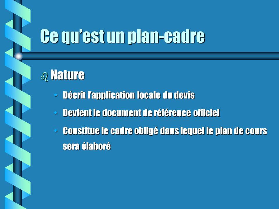 Ce quest un plan-cadre b Nature Décrit lapplication locale du devisDécrit lapplication locale du devis Devient le document de référence officielDevient le document de référence officiel Constitue le cadre obligé dans lequel le plan de cours sera élaboréConstitue le cadre obligé dans lequel le plan de cours sera élaboré