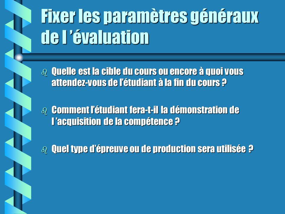 Fixer les paramètres généraux de l évaluation b Quelle est la cible du cours ou encore à quoi vous attendez-vous de létudiant à la fin du cours .