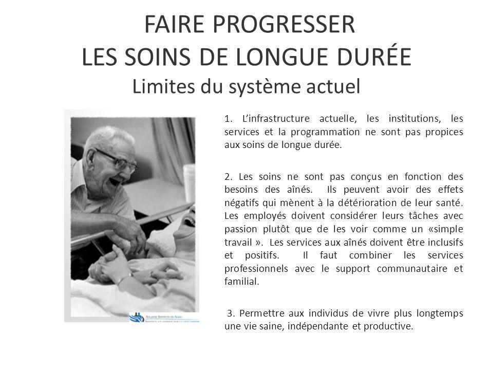 FAIRE PROGRESSER LES SOINS DE LONGUE DURÉE Limites du système actuel 1.