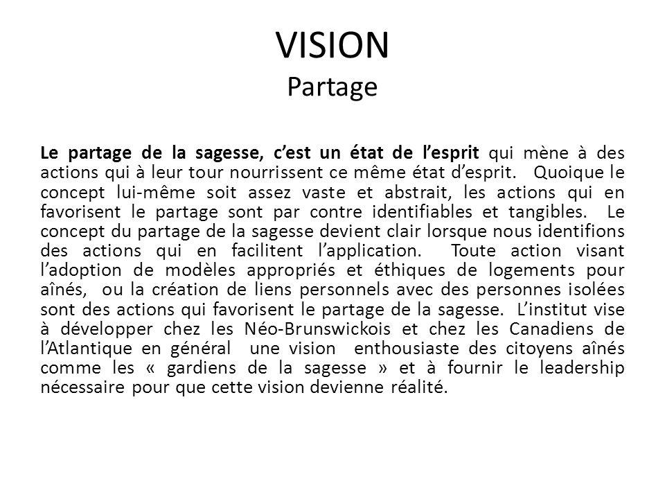 VISION Partage Le partage de la sagesse, cest un état de lesprit qui mène à des actions qui à leur tour nourrissent ce même état desprit.