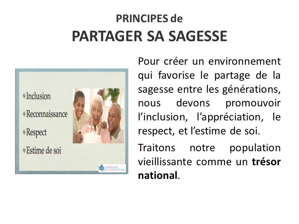 PRINCIPES de PARTAGER SA SAGESSE Pour créer un environnement qui favorise le partage de la sagesse entre les générations, nous devons promouvoir linclusion, lappréciation, le respect, et lestime de soi.