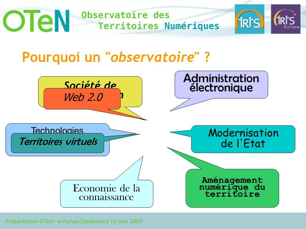 Présentation OTeN – e-Forum Casablanca 14 juin 2007 Pourquoi un observatoire .