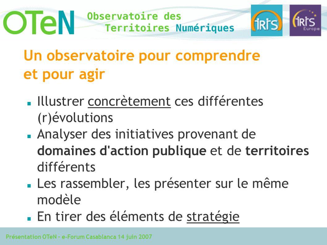 Présentation OTeN – e-Forum Casablanca 14 juin 2007 Un observatoire pour comprendre et pour agir Illustrer concrètement ces différentes (r)évolutions Analyser des initiatives provenant de domaines d action publique et de territoires différents Les rassembler, les présenter sur le même modèle En tirer des éléments de stratégie