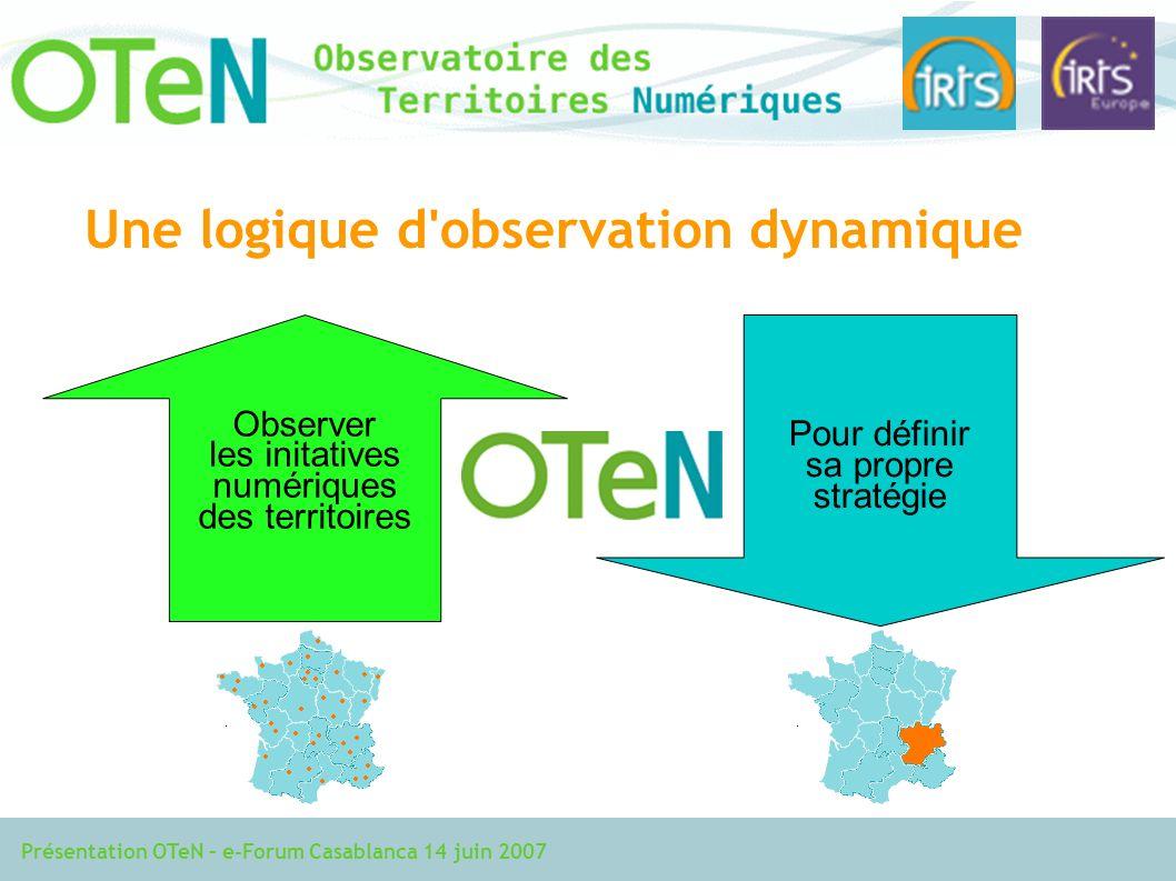 Présentation OTeN – e-Forum Casablanca 14 juin 2007 Pour définir sa propre stratégie Une logique d observation dynamique Observer les initatives numériques des territoires