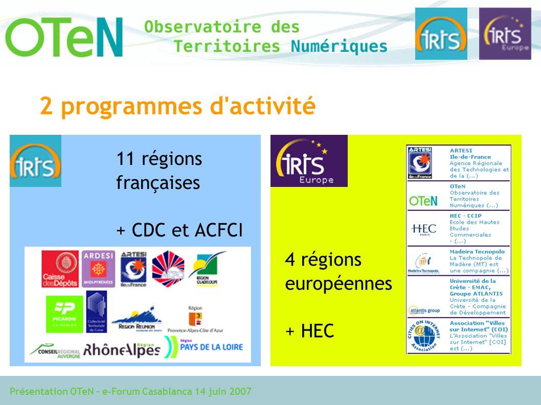 Présentation OTeN – e-Forum Casablanca 14 juin 2007 2 programmes d activité 11 régions françaises + CDC et ACFCI 4 régions européennes + HEC