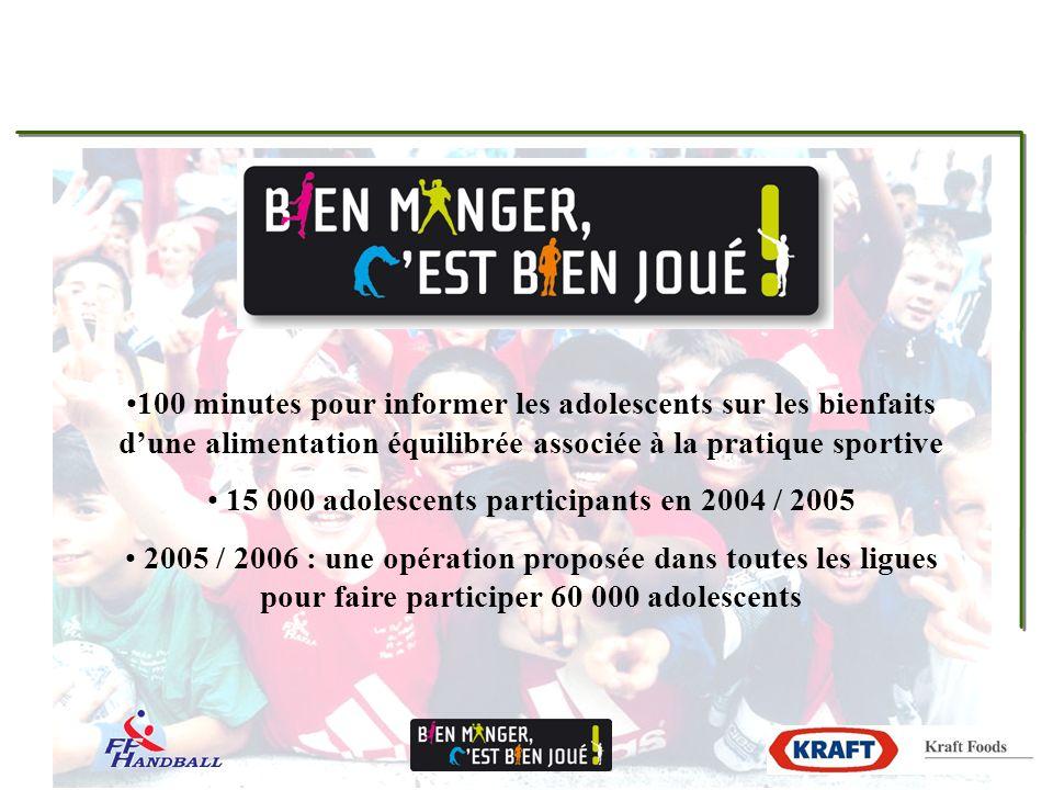 100 minutes pour informer les adolescents sur les bienfaits dune alimentation équilibrée associée à la pratique sportive 15 000 adolescents participants en 2004 / 2005 2005 / 2006 : une opération proposée dans toutes les ligues pour faire participer 60 000 adolescents