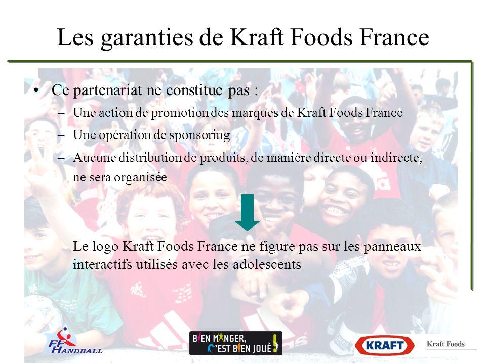 Les garanties de Kraft Foods France Ce partenariat ne constitue pas : –Une action de promotion des marques de Kraft Foods France –Une opération de sponsoring –Aucune distribution de produits, de manière directe ou indirecte, ne sera organisée Le logo Kraft Foods France ne figure pas sur les panneaux interactifs utilisés avec les adolescents