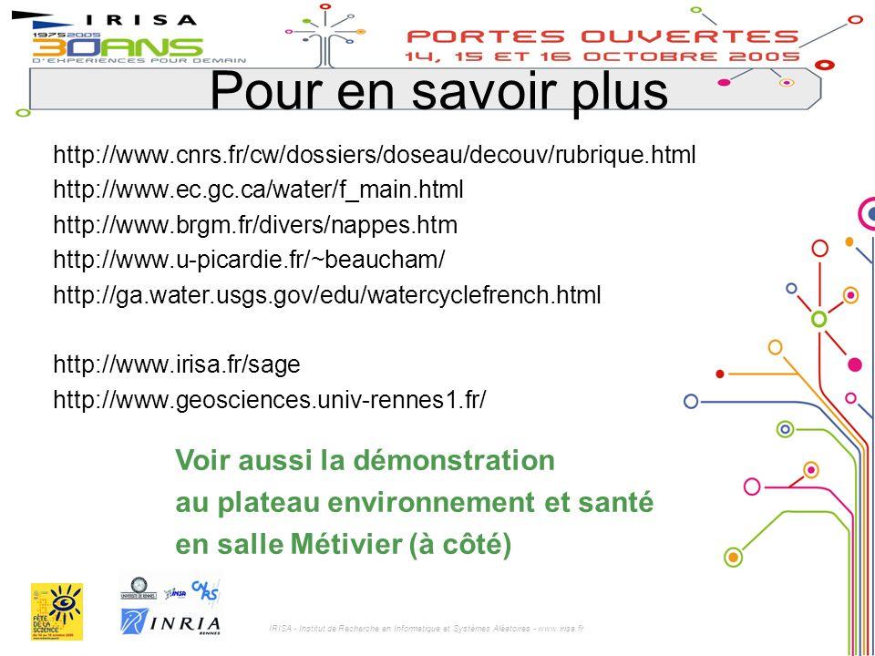IRISA - Institut de Recherche en Informatique et Systèmes Aléatoires - www.irisa.fr http://www.cnrs.fr/cw/dossiers/doseau/decouv/rubrique.html http://