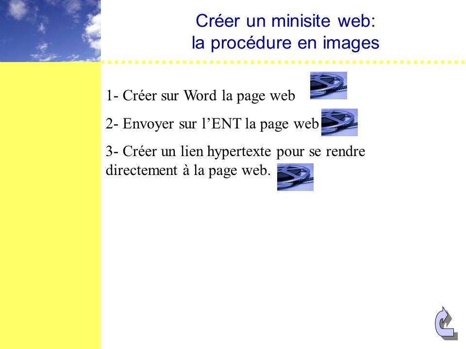 Créer un minisite web: la procédure en images 1- Créer sur Word la page web 2- Envoyer sur lENT la page web 3- Créer un lien hypertexte pour se rendre directement à la page web.