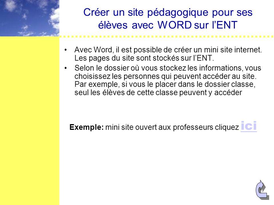 Créer un site pédagogique pour ses élèves avec WORD sur lENT Avec Word, il est possible de créer un mini site internet.