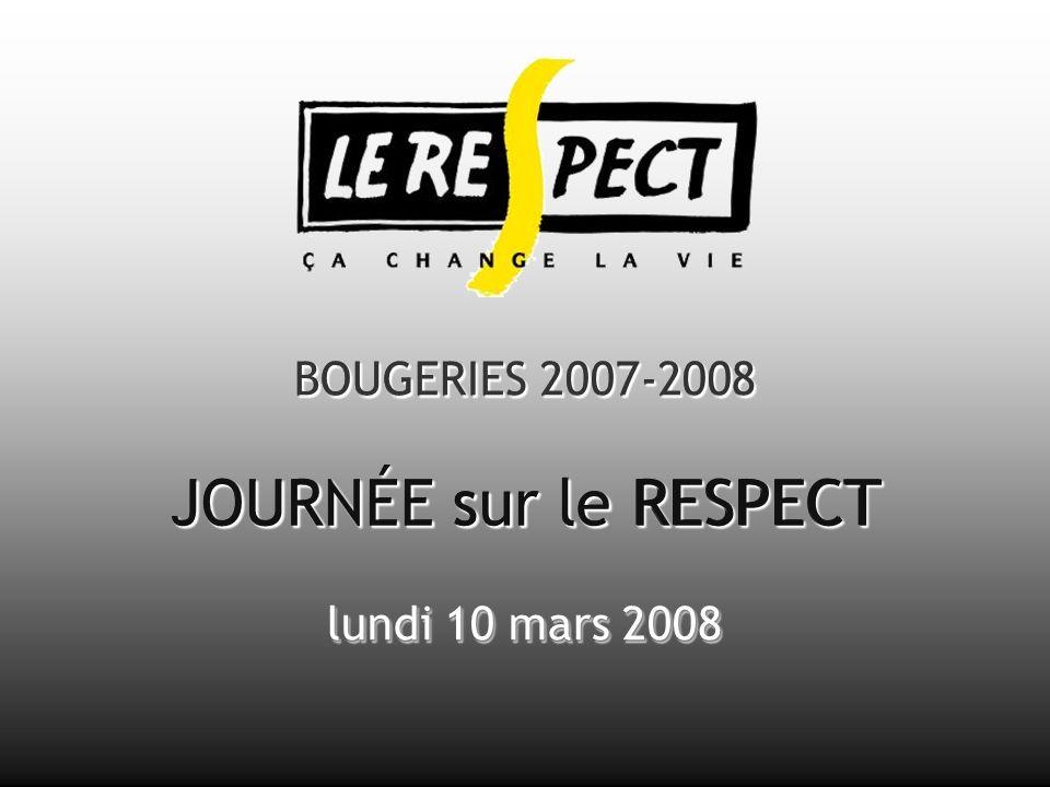 BOUGERIES 2007-2008 JOURNÉE sur le RESPECT lundi 10 mars 2008 BOUGERIES 2007-2008 lundi 10 mars 2008 JOURNEE sur le JOURNEE sur le RESPECT