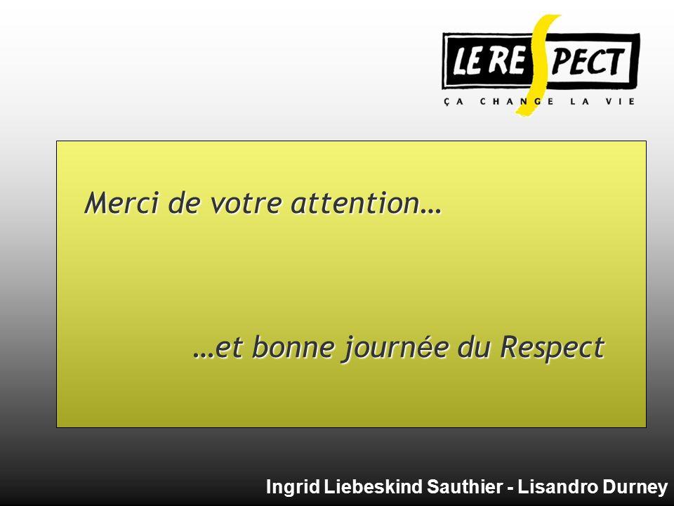 Merci de votre attention… …et bonne journée du Respect Ingrid Liebeskind Sauthier - Lisandro Durney