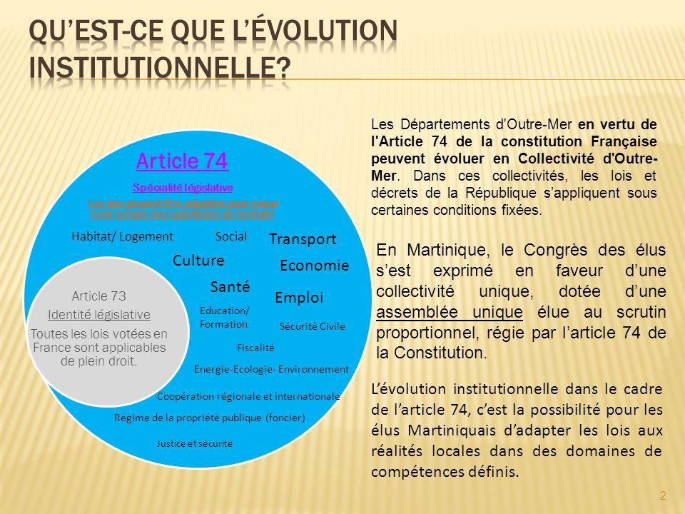 Pour de nombreuses raisons: Pour apporter des réponses concrètes dans des délais raisonnables aux préoccupations quotidiennes des Martiniquais Pour préserver le patrimoine du peuple Martiniquais Pour surmonter les limites de lactuel cadre institutionnel en élargissant les champs daction Pour définir les limites de lautonomie souhaitée sans quelles ne soient imposées par lEurope et par la France dans leurs politiques actuelles et à venir de décentralisation Parce que la constitution et les lois le permettent en garantissant les acquis.