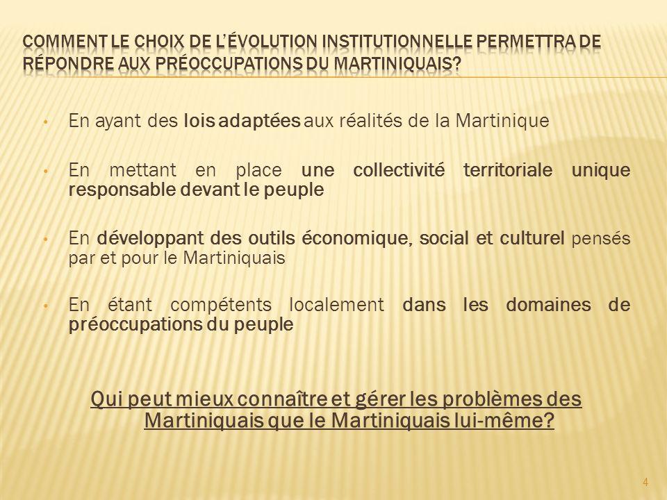La Martinique ne sera plus une région monodépartementale mais une collectivité territoriale unique regroupant les compétences de la région et du département avec 13 autres supplémentaires.