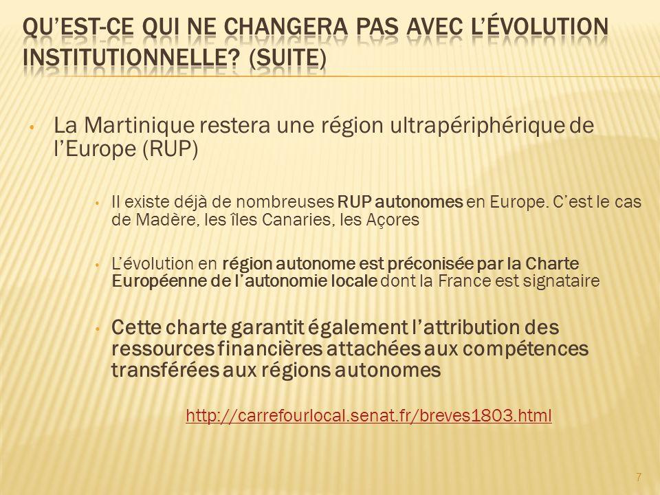 La Martinique restera une région ultrapériphérique de lEurope (RUP) Il existe déjà de nombreuses RUP autonomes en Europe.