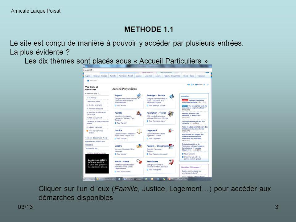 03/134 Amicale Laïque Poisat METHODE 1.2 Les démarches sont alors sous-classées par thèmes