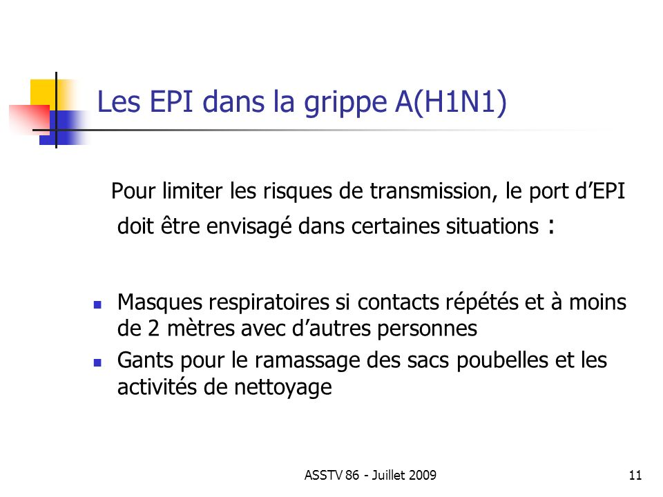 Les EPI dans la grippe A(H1N1) Pour limiter les risques de transmission, le port dEPI doit être envisagé dans certaines situations : Masques respirato