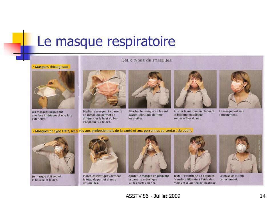Le masque respiratoire 14ASSTV 86 - Juillet 2009