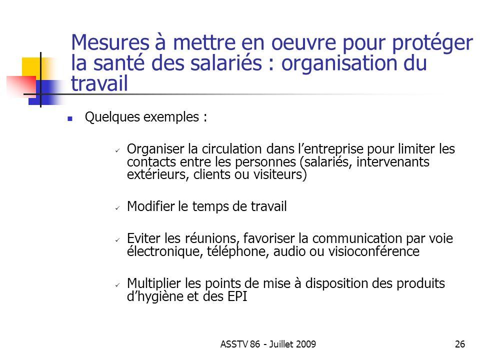 Quelques exemples : Organiser la circulation dans lentreprise pour limiter les contacts entre les personnes (salariés, intervenants extérieurs, client