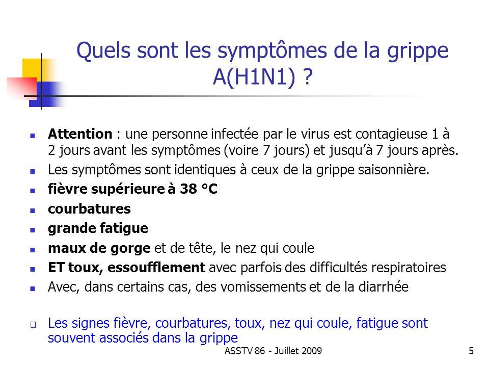 Quels sont les symptômes de la grippe A(H1N1) ? Attention : une personne infectée par le virus est contagieuse 1 à 2 jours avant les symptômes (voire