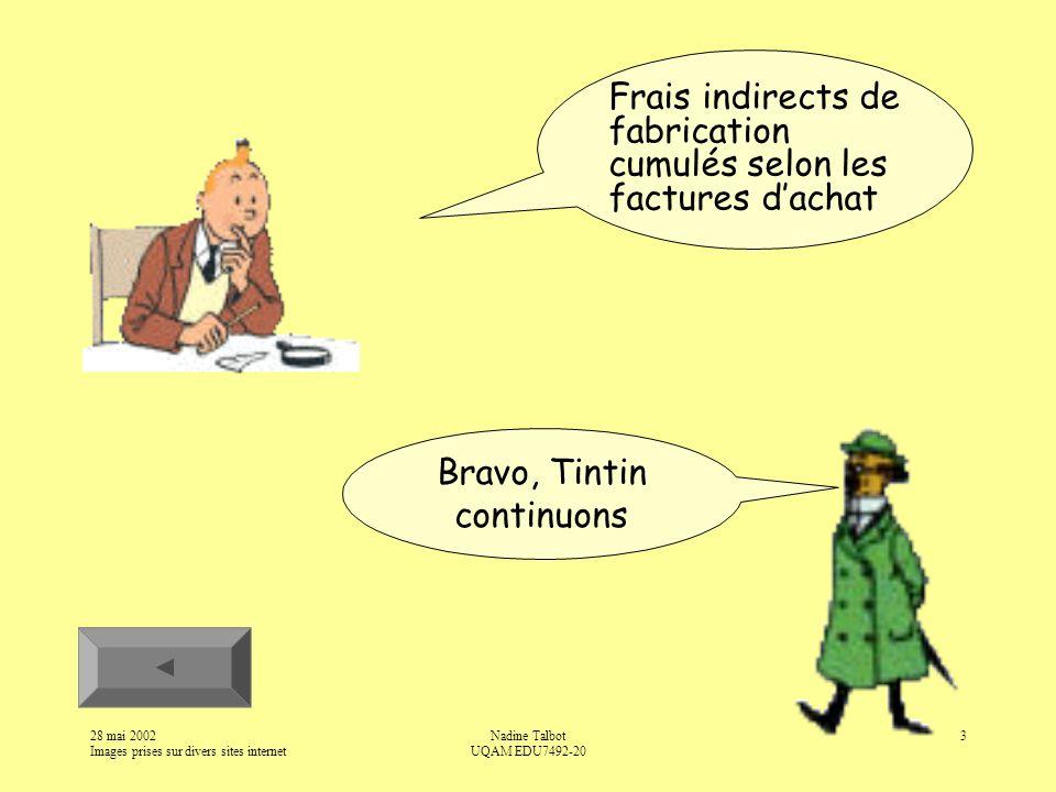 28 mai 2002 Images prises sur divers sites internet Nadine Talbot UQAM EDU7492-20 3 Frais indirects de fabrication cumulés selon les factures dachat Bravo, Tintin continuons