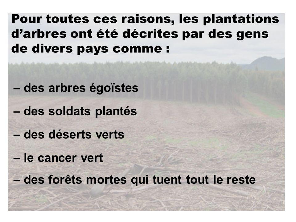 – des forêts mortes qui tuent tout le reste – le cancer vert – des déserts verts – des soldats plantés – des arbres égoïstes