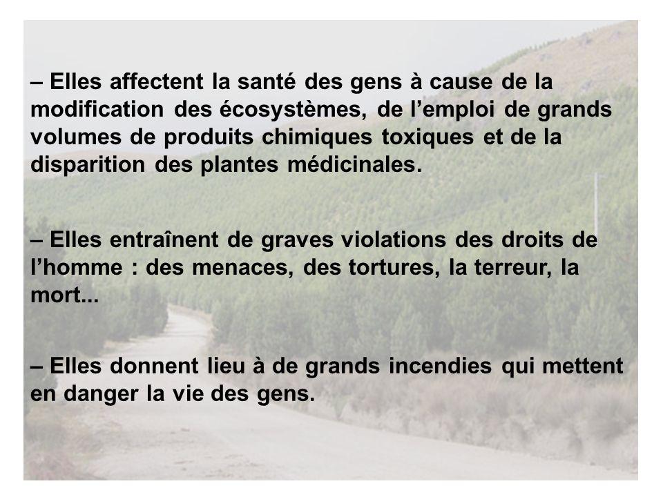 – Elles affectent la santé des gens à cause de la modification des écosystèmes, de lemploi de grands volumes de produits chimiques toxiques et de la disparition des plantes médicinales.