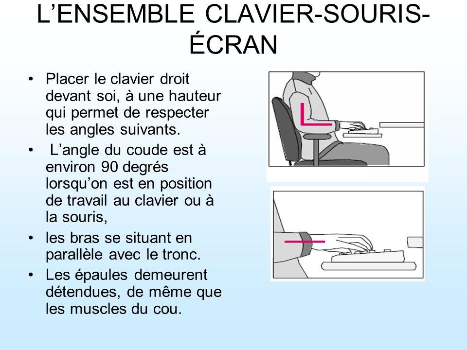 LENSEMBLE CLAVIER-SOURIS- ÉCRAN Placer le clavier droit devant soi, à une hauteur qui permet de respecter les angles suivants.