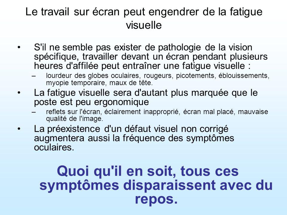 Le travail sur écran peut engendrer de la fatigue visuelle Sujet d inquiétude, le syndrome de l œil sec,caractérisé par un manque de larmes provoquant des sensations de brûlures ou d irritation.