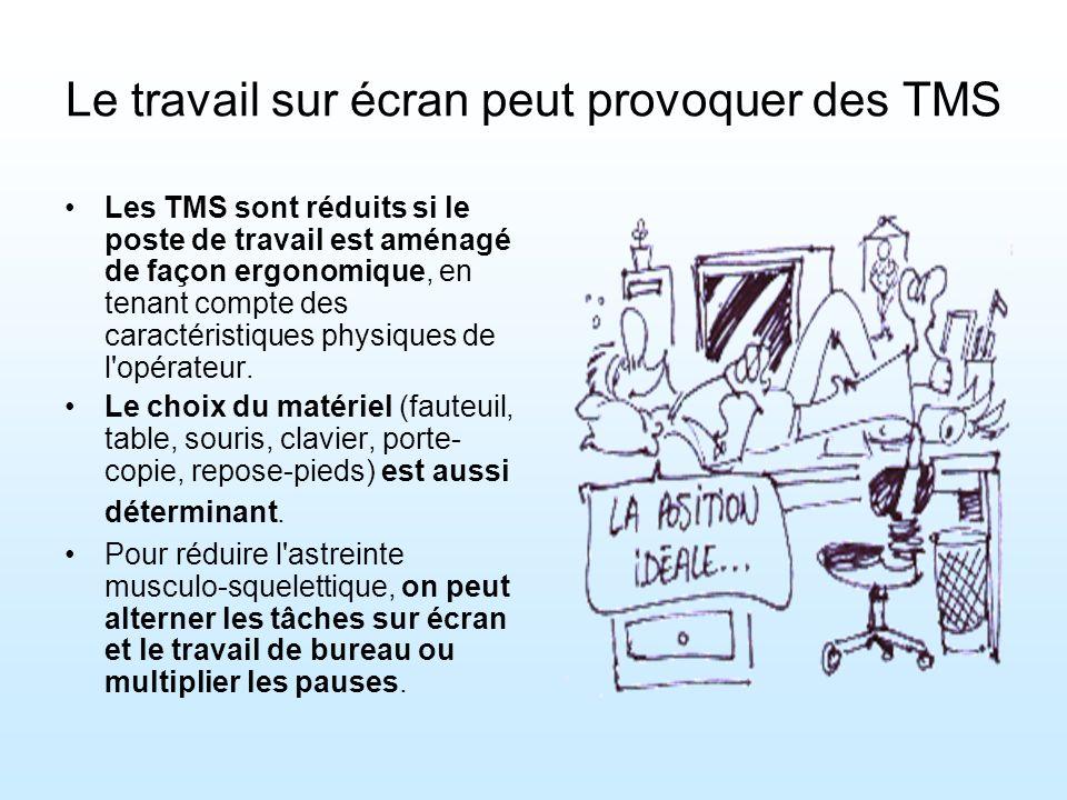 Les TMS sont réduits si le poste de travail est aménagé de façon ergonomique, en tenant compte des caractéristiques physiques de l opérateur.