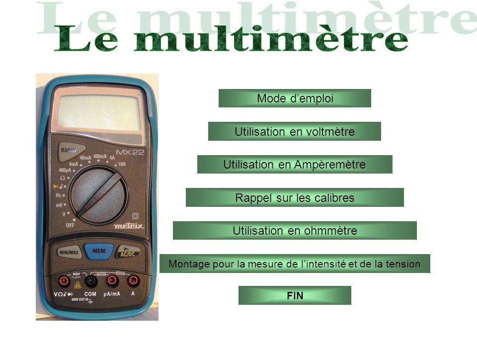 Mode demploi Utilisation en ohmmètre Utilisation en Ampèremètre Utilisation en voltmètre Rappel sur les calibres Montage pour la mesure de lintensité