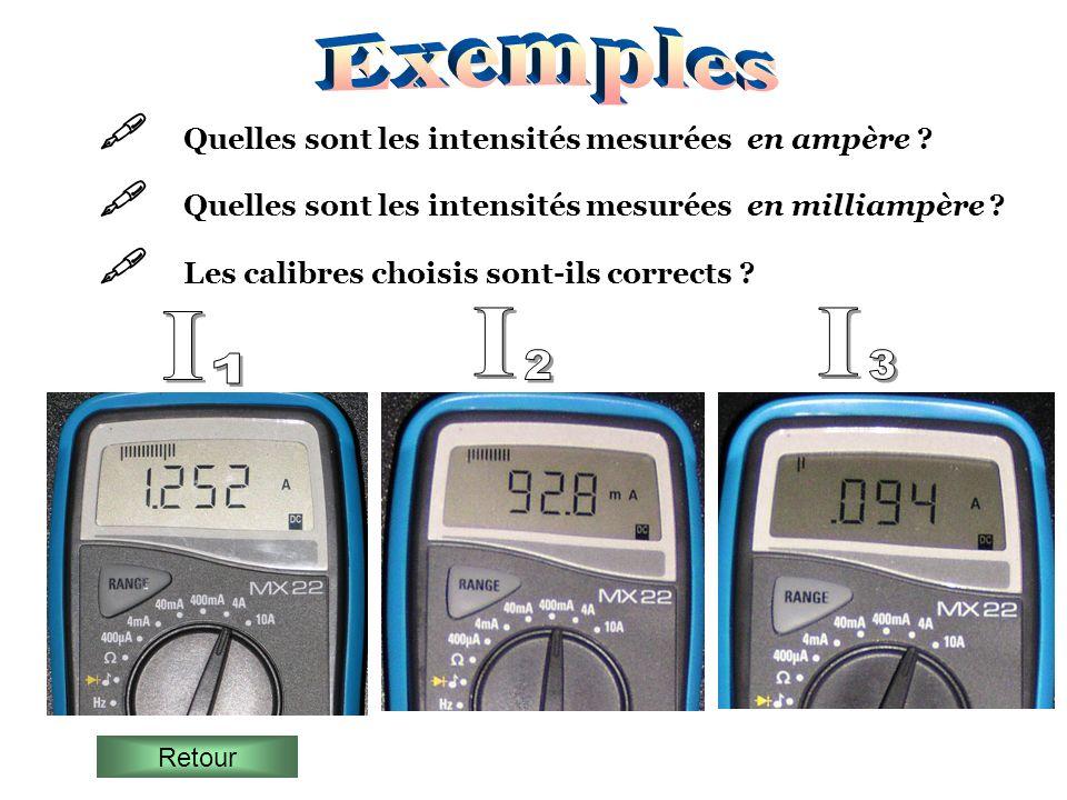 Quelles sont les intensités mesurées en ampère ? Quelles sont les intensités mesurées en milliampère ? Les calibres choisis sont-ils corrects ? Retour