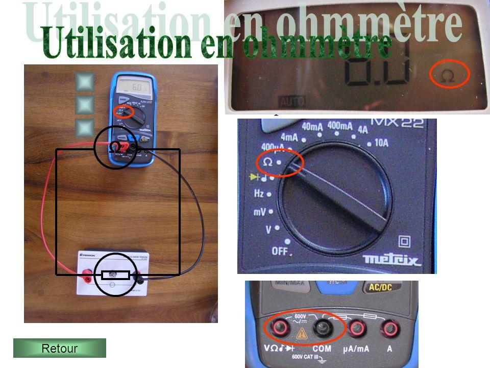 Pour mesurer la résistance dun dipôle (une lampe par exemple) on utilise un ohmmètre. Le dipôle doit être hors tension Retour