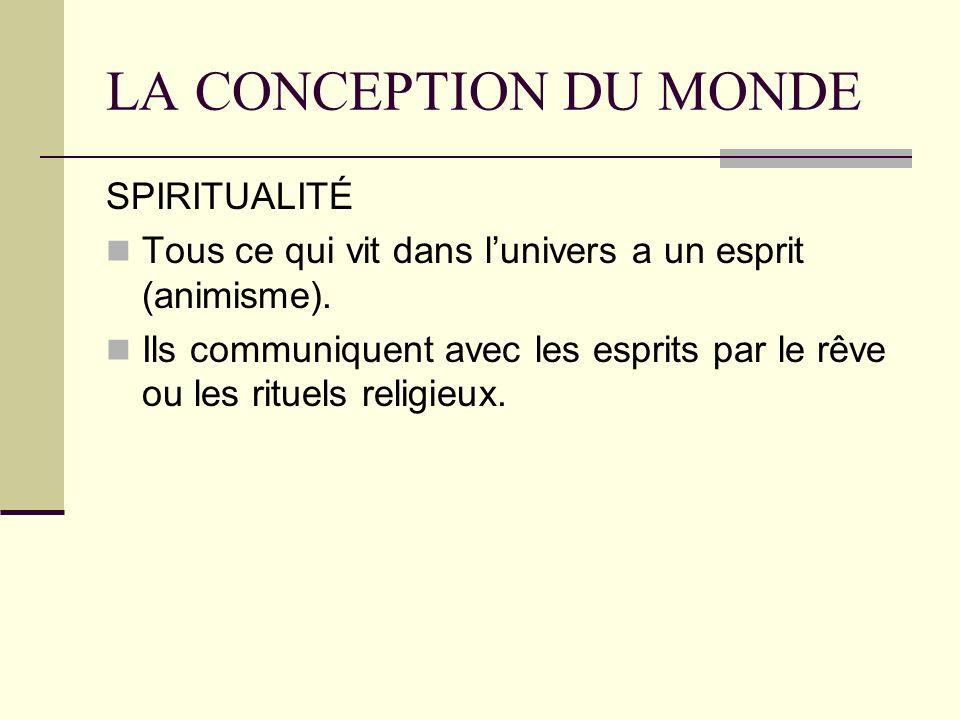 LA CONCEPTION DU MONDE SPIRITUALITÉ Tous ce qui vit dans lunivers a un esprit (animisme).