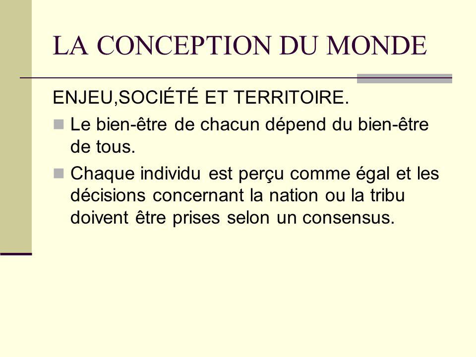 LA CONCEPTION DU MONDE ENJEU,SOCIÉTÉ ET TERRITOIRE.