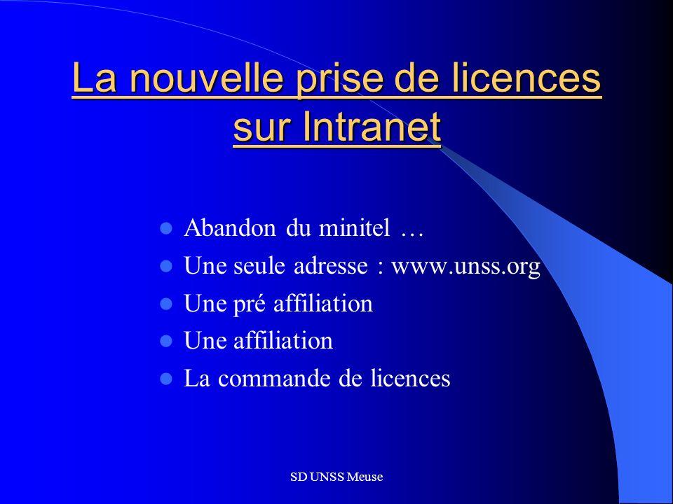 SD UNSS Meuse La nouvelle prise de licences sur Intranet Abandon du minitel … Une seule adresse : www.unss.org Une pré affiliation Une affiliation La commande de licences