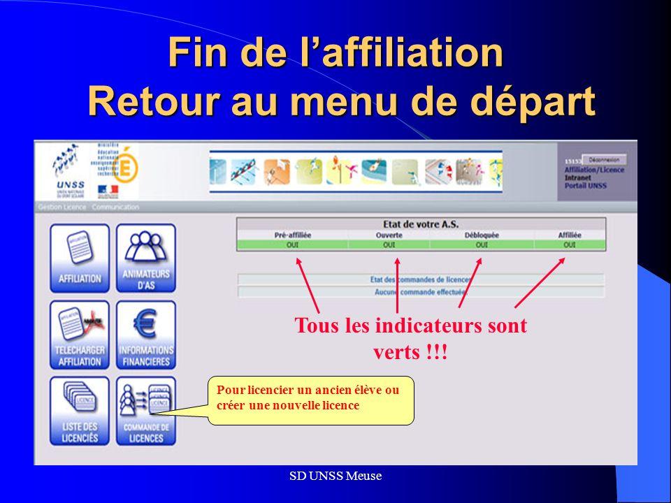 SD UNSS Meuse Fin de laffiliation Retour au menu de départ Pour licencier un ancien élève ou créer une nouvelle licence Tous les indicateurs sont verts !!!