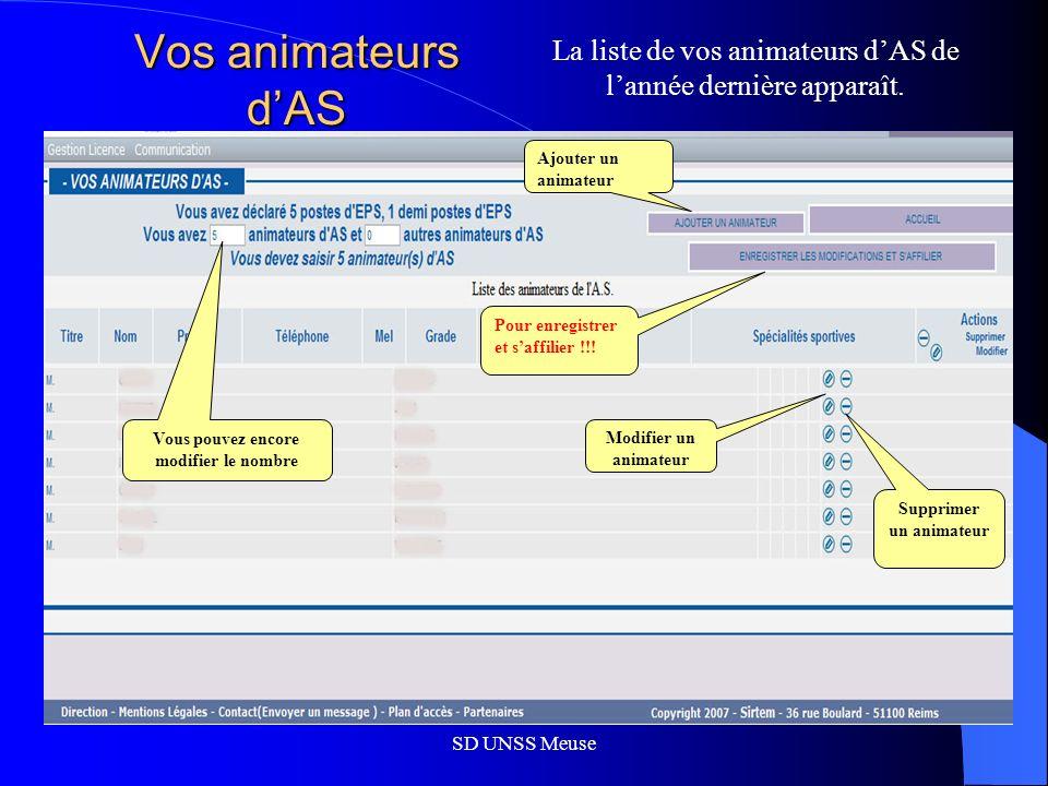SD UNSS Meuse Vos animateurs dAS La liste de vos animateurs dAS de lannée dernière apparaît.